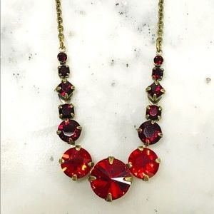 Sorrelli Brilliant Red Crystal Rounds Necklace,NWT